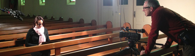 Picture of a film shoot in a Church