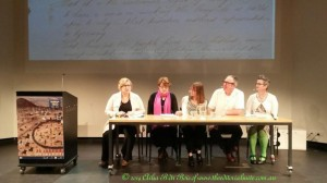The panel discussion facilitated by Jane Smith, Director of M.A.D.E, with Leslie Falkiner-Rose, Lucinda, Jary and Erin McCuskey. 7th December 2014. Photo by Ailsa B Du Bois, the Editorial Suite.