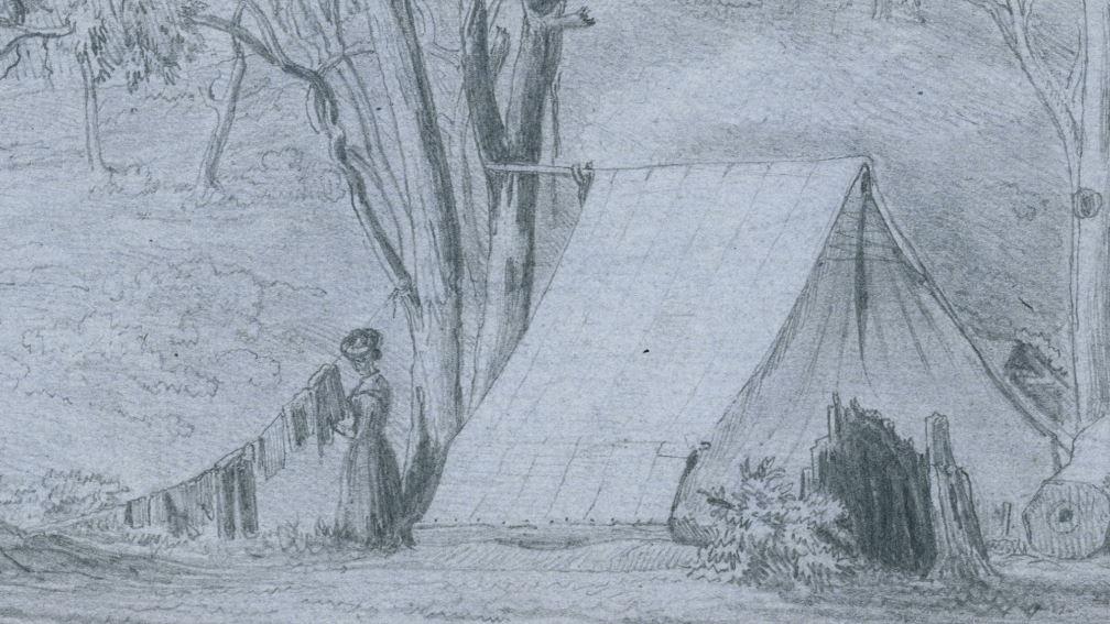 Life in a Tent, inset, Eugene Von Guerard, Ballarat r.m. Tent z. Sud West. 28 July n August 1853'