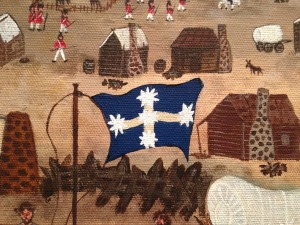 Marlene depicts historical events in her paintings. Here a portrayal of the famous starry blue Eureka Flag flying. Photograph by Jary Nemo.