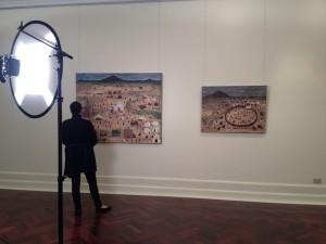 Marlene with two of her Eureka paintings at the Art Gallery of Ballarat.