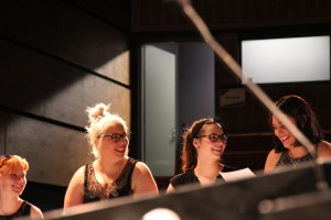 Laura Telford, Casey Binks, Katy Nethercote and Isabel Mulrooney during rehearsal. Photograph by Lucinda Horrocks.