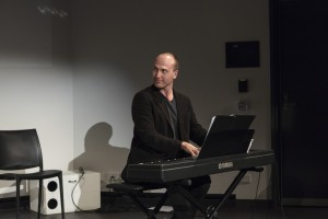 Pianist Nathan Gilkes plays the final chord in the show.  Photograph by Aldona Kmeic.
