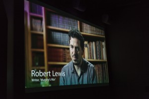 Robert Lewis on the big screen. Photograph by Aldona Kmeic.