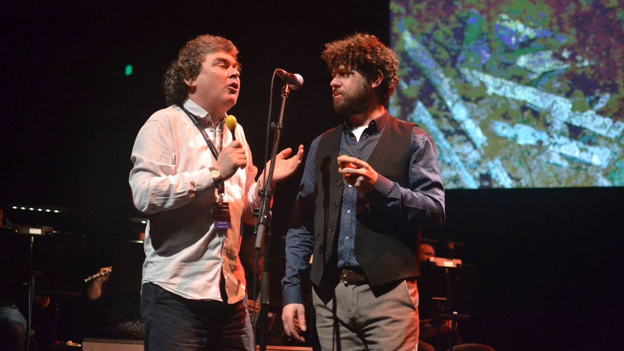 John Spillane and Declan O'Rourke, Exile Concert, Melbourne, February 2016. Photograph by Tim Chmeilewski.