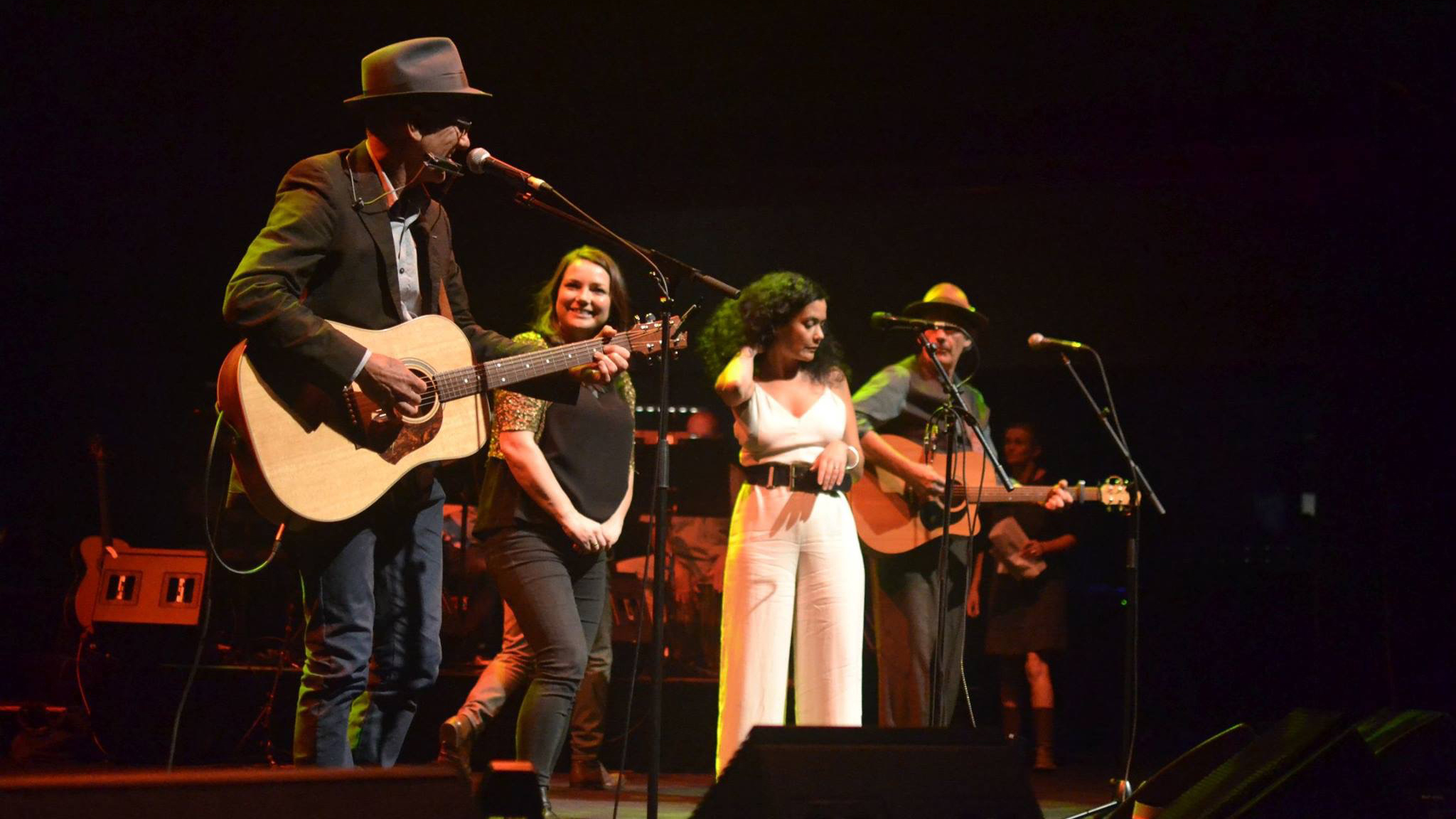 Paul Kelly, Pauline Scanlon, Leah Flanagan and Shane Howard onstage during dress rehearsal, Melbourne, February 2016. Photograph by Tim Chmeilewski.