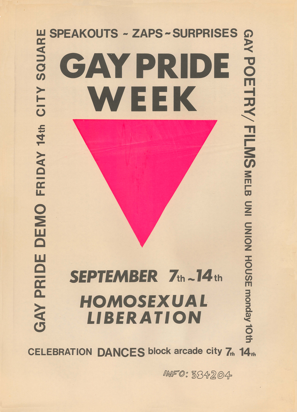 Gay Pride Week Poster 1973. Courtesy of the Australian Lesbian and Gay Archives.